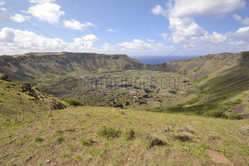 Crater of extinct volcano Rano Kau  Easter Island  Chile