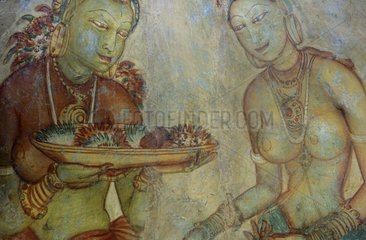 Frescos of Sigiriya in Sri Lanka