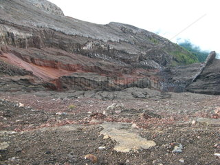 Ash on the slopes of Agung volcano in Indonesia. Bali Island  Indonesia.