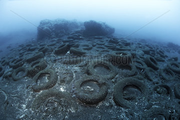 Photo denunciation  garbage in the sea  tire on submarine background. No matter the place if not the consequences.
