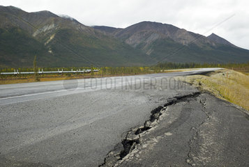 Dalton Highway : from Fairbanks to Prudhoe Bay  Road surface cracks with Permafrost melt  Alaska  USA