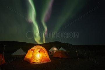 Aurora borealis above camp  Lake Baret  Quebec  Canada