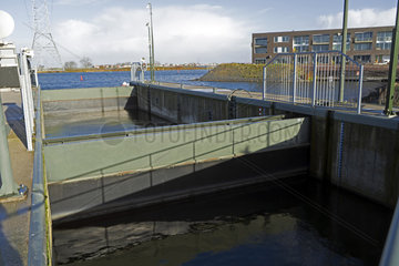 Locks protecting floating houses in Amsterdam's Ijburg district  Holland  Netherlands