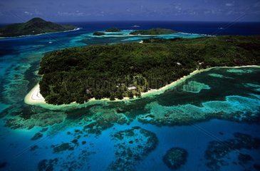 Air shot of Moyenne island in the Seychelles