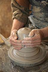 Piece of clay worked on a lathe by a potter  Martine Gilles and Jaap Wieman  Village of Brantes  Provence  France