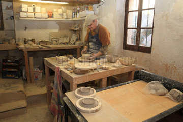 Potter working in his studio  Martine Gilles and Jaap Wieman  Village of Brantes  Provence  France