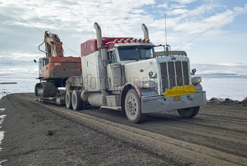 Dalton Highway : from Fairbanks to Prudhoe Bay  his trucks  the only supply of Deadhorse in all seasons and in all weather! Alaska  USA