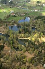 ponds and forest (aerial view)  towards Beulotte Saint Laurent  Plateau des Mille Etangs  Haute Saone  France