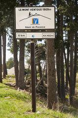 Mont Ventoux sign when coming from Malaucène (northern slope)  Vaucluse 84  Provence-Alpes-Cote d'Azur  France