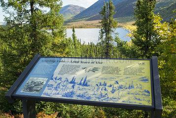 Dalton Highway : from Fairbanks to Prudhoe Bay  Roadside Information Signs  Grayling Lake  Alaska  USA