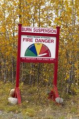 Sign indicating the risk of fire near the park  Denali National Park  Alaska  USA
