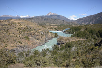 Confluence of Rio Baker and Rio Nef  surroundings of Cochrane  XI Region of Aysen  Chile