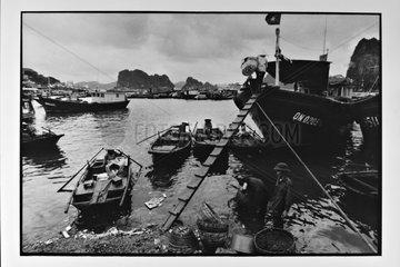 Ship and boat in the fishing harbor of Hongai Vietnam