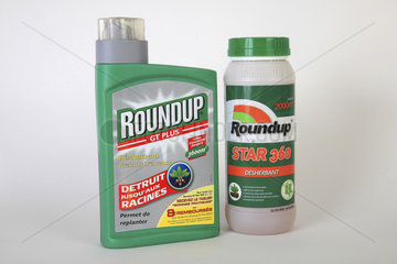Glyphosate (Roundup) weed killer bottles in studio  France