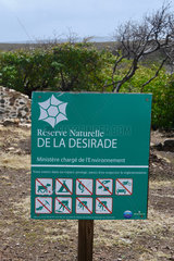 Sign at the entrance of La Desirade reserve  Guadeloupe