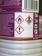 Product Label Containing Solvents  Flammable / Harmful Acronyms  Hazardous and Irritant / Health Hazard Product  France