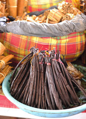 Vanilla pods and cinnamon sticks on a stall  Guadeloupe