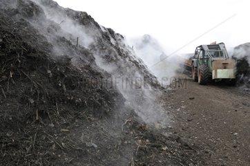 Engin returning compost mounds Hirsingue France