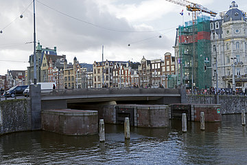 Protective Locks of the City against Rising Water in Station District in Amsterdam  Holland  Netherlands