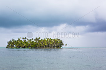 Motu and Stormy Sky in Tahaa  Leeward Islands  Society Islands  French Polynesia