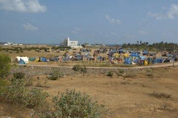 Camp de réfugiés après le tsunami de Décembre 2004 en Inde