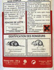 Products for the destruction of rats  harmful acronym  France