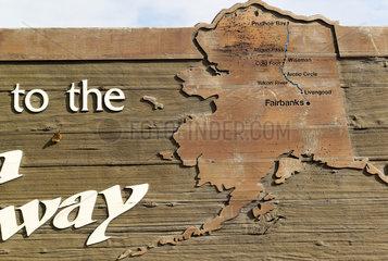 Dalton Highway : from Fairbanks to Prudhoe Bay  Roadside Information Signs  Alaska  USA