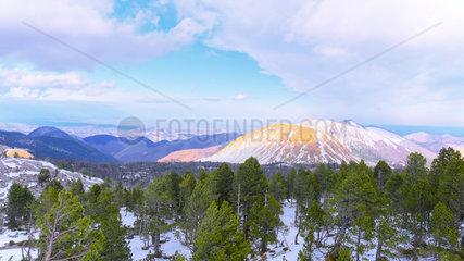 Snowy landscape  ski and winter sports resorts in mountain areas  La Pierre Saint Martin ski resort  municipality of Arette (64)  Pyrenees  France