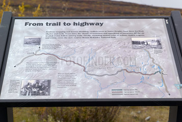 Information signs at mile 7  Denali Highway: from Paxson to Cantwell  Alaska  USA