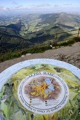 Puy Mary Orientation table  Auvergne Volcanoes Regional Nature Park  France