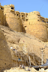 Restoration of the Ramparts of the Jaisalmer City Fort  nicknamed the Golden City  Rajasthan  India