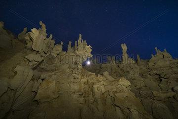 The Moon in Fantasy Canyon  Vernal  Utah  Usa
