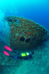 Diver and Boat Wreck  Antheors Peniches Dive Site  Cote d'Azur  France