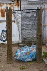 Net for recycling plastic bottles  La Desirade  Guadeloupe