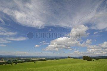 Agricultural plateau and cumulus - Franche-Comté France