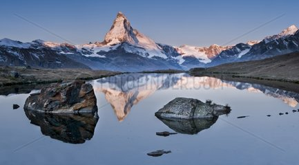Reflection over the Matterhorn on the lake of Stellisee
