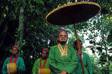 Head of the volcano Merapi village blessing earth Java
