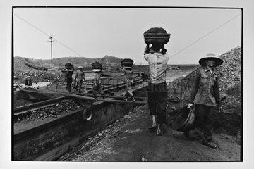 Loading of coal aboard barges Hongai Vietnam