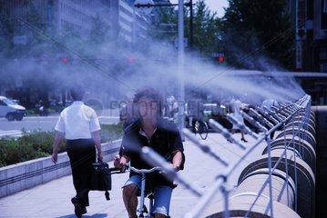 Mist spray to try to refresh in hot summer Osaka