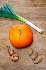 Harvest of vegetables for a soup