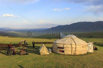 Kyrgyz nomadic breeders and yurt - Kyrgyzstan