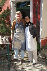 Martine Gilles and Jaap Wieman in front of their pottery factory  village of Brantes  Provence  France