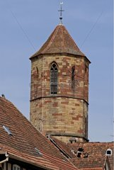 Lightning conductor at the top of a bell-tower of Church Alsace France