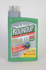 Glyphosate (Roundup) weed killer bottle in studio  France