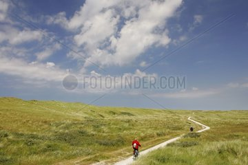 Cyclists walking on the dunes of the Vlieland island