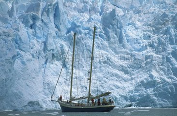 Sailing ship in the Beagle channel glaciers Chile