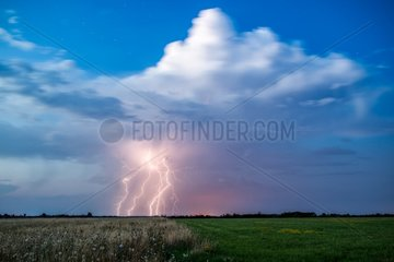 Isolated thunderstorm with high base in the sunset - France