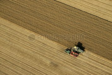 Harvest of a Wheat field Air shot Yonne France