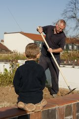 Gardening on Jardin suspendu de Perrache at Lyon France