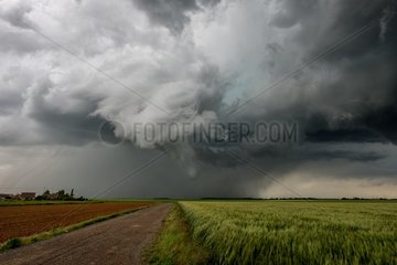 Severe thunderstorm over the campaign in the spring - France